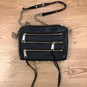 Rebecca Minkoff Moro 5 Zip Black leather crossbody